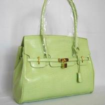 (W49) New Large Green Croc Handbag Bag Purse Tote Photo