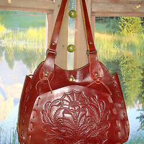 Wabags  Rare Unique Hand Tooled Mohagany Leather Saddle Bag Hobo 112697 Nwot Photo