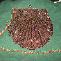 Walborg Evening Party Purse Handbag Beaded Rose Gold Scallop Shell Chain  Clutch Photo