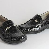 Waldlaufer Nwob Black Patent Faux Croc Wedge Slip on Moccasin Loafer Shoe 6 Photo