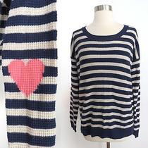 Wallace by Madewell Size Medium Heart Patch Blue Creme Stripe Knit Sweater Top Photo