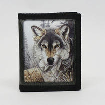 Wallet (Imitation Faux Leather) Wolf Photo