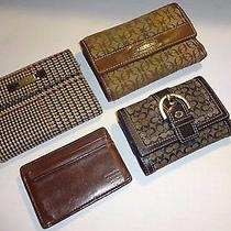 Wallets - Lot of 4 - 1 Fossil 2 Coach 1 Ralph Lauren - Good Condition Photo