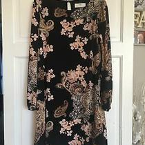 Wallis Nwot Black Blush Beige Floral Paisley Long Sleeve Dress 10 Photo