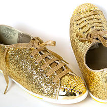 Wanted Hudson Glitter Sneakers Lace-Ups Flats Black Gold Silver Sizes 6-10 Photo
