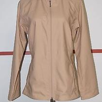 Water Girl Patagonia Tan 100% Poly Long Sleeve Zip Front Jacket Sz L 13567 Photo