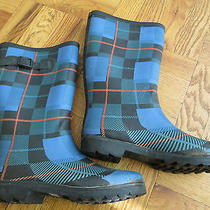 Water Proof Boots. Size 38. Blue and Black Pattern Photo