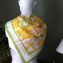 Water Repellent Lime Green Bordered Floral Scarf  by Sm Kent for Avon Photo