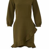 Waverly Grey Women's Dress Green Size Small S Sheath Flounce Ruffle 235- 893 Photo