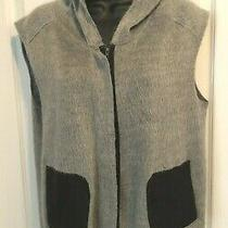 Waverly Grey Womens Gray Knit Leatherette Trimmed Full Zip Hoodie Vest Sz Small Photo