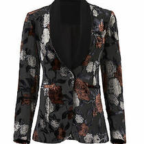 Waverly Grey Womens Blazer Black Size Small S Floral Print One Button 245- 305 Photo