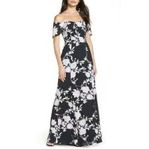 Wayf Rachel Maxi Dress Xxl Off the Shoulder Gored Black Blush Bouquet Floral Nwt Photo