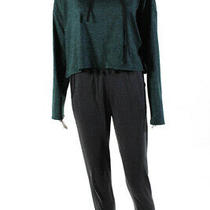 We Me Theory Womens Cropped Hoodie Sweatpants Green Gray Size M S Photo