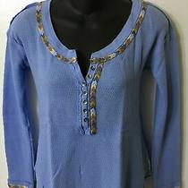 We the Free (Anthropologie) Nwt Women's Blue Rainblow Trim Thermal Top Medium Photo