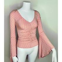 We the Free Top Womens Size Xs Light Pink Polka Dot Bell Sleeve Free People Photo