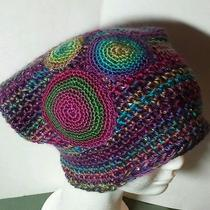 Wearable Art Rainbow Sparkle Sequin Floppy Beret Hat by Patty Wolford Artrox Photo