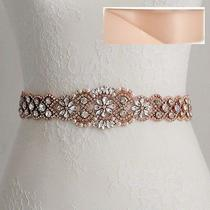 Wedding Belt Bridal Belt-Rose Gold Crystal Sash Belt  17 1/2