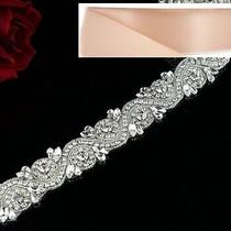 Wedding Belt - Crystal Wedding Sash Belt  17 Inch Long in Blush Satin Sash Photo