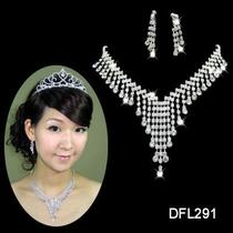 Wedding Bridal Bridesmaid Crystal Silver Necklace Earrings Jewelry Set 291 Photo