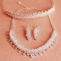 Wedding Bridal Silver Swarovski Crystal Crown Tiara Necklace Earrings Jewelryset Photo