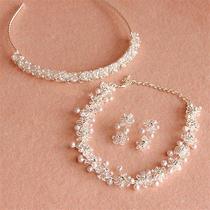 Wedding Bridal Swarovski Crystal Headband Tiara Necklace Earring Jewelry Set New Photo