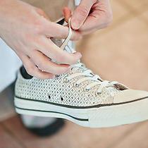 Wedding Converse Shoes White Silver 7.5 Women's Photo
