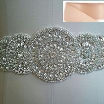 Wedding Dress Sash Belt - Crystal Sash Belt  in Blush Satin Sash Photo