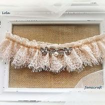 Wedding Garter Lola Pale Blush Nude Lace Crystal Vintage Bridal Hand Made Gift  Photo