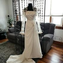 Wedding Gown Informal Ivory/blush Strapless Satin Chiffon Sheath W/jacket Sz 12  Photo