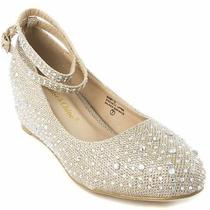 Wedding Shoes - Chase & Chloe Bobby 12 - Nude - Wedge With Ankle Strap Size 8.5 Photo