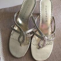 Wedding Shoes Gold Rampage Slip on Heels Size 8 Photo