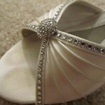 Wedding Shoes  Liz Rene Addison  White Formal Heels Crystals Size 8 M Photo