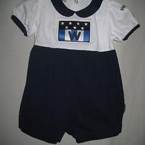 Weebok by Reebok Nautical Navy Blue & White Knit Bubble Romper Girl's 18 M Euc Photo