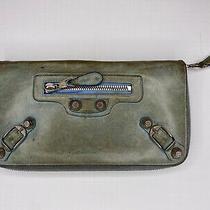 Well Loved Balenciaga Zipper Credit Card Wallet in Light Blue Photo