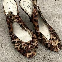 Well Worn Womens Sling Back Peep Toe Guess Satin Leopard Print Heels Size 7 Photo
