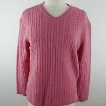 Westbound Womens Warm Lambs Wool Cable Knit Ls v Neck Blush Pink Sweater Large Photo