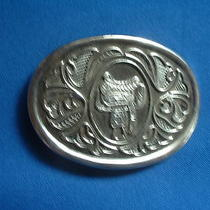 Western Belt Buckle - Shows Saddle - Silver-Toned Metal - Avon Photo