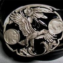 Western Belt W Fancy Buckle Eagle in Flight Buffalo Nickels Black Sz 38 Photo