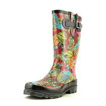 Western Chief Floral Fantasy Womens Size 8 Black Rubber Rain Boots Photo