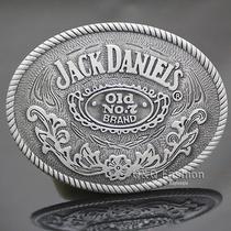 Western Cowboy Silver Jack Daniels Element Old no.7 Brocade Rodeo Belt Buckle Photo