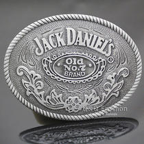 Western Cowboy Silver Jack Daniels Element Old no.7 Brocade Rodeo Belt Buckle Photo