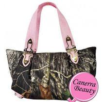 Western Mossy Oak Camouflage Crocs Shoulder Bag Handbag Purse Womens Hinged Pink Photo