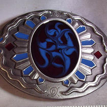 Western Native American Blue Red c&j Inc 1996 Vintage Belt Buckle Q74 Photo