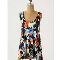 Weston Wear Anthropologie Tunic Tank Navy Floral Tie-Back Asymmetrical Hem Sz Xs Photo