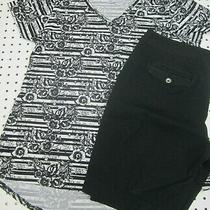Whbm Solid Black Bermuda Shorts Sz 12 & Lularoe B & W Stripe Christy T Sz L Photo