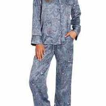 Whistler in Bloom by Jonquil Blue Paisley Satin Pajama/lounge Set Large Euc Photo