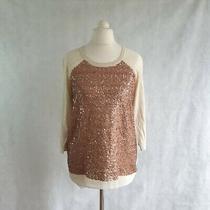 Whistles Jumper Dress Women's Uk 10 Longline Cream Rose Gold Sequin Knit 454064 Photo