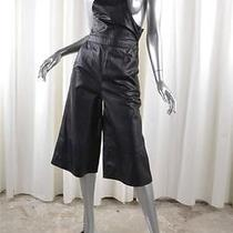 Whistles Womens 'Layla' Black Leather Culotte Dungaree Overalls Uk 4 Us 0 Xs New Photo