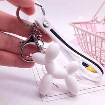 White Balloon Dog Keychain Cute Rings Jewelry for Women Kid Gift Charm Photo