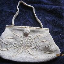 White Beaded Evening Bag by Magid  50s 60s Excellent Clean Nice Detail Vintage Photo
